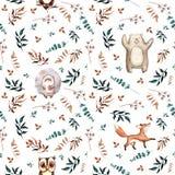 Modèle sans couture tiré par la main mignon d'aquarelle Animaux sauvages de forêt Ours gai, renard, hérisson, hibou illustration de vecteur