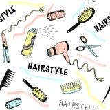 Modèle sans couture tiré par la main pour le salon de beauté avec des outils de coiffure illustration libre de droits