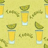 Modèle sans couture tiré par tequila illustration stock