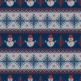 Modèle sans couture tricoté avec des bonhommes de neige et des flocons de neige Images libres de droits