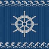 Modèle sans couture tricoté avec la roue de mer Photo stock