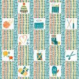 Modèle sans couture tricoté avec les accessoires de tricotage Images libres de droits