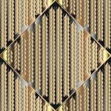 Modèle sans couture tricoté de l'or 3d Ornamental b texturisé de tricotage illustration libre de droits
