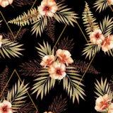 Modèle sans couture tropical avec des éléments d'aquarelle et d'ensemble illustration libre de droits