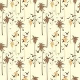 Modèle sans couture tropical avec des silhouettes des palmiers et des oiseaux dans le style de vintage Illustration Stock