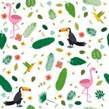 Modèle sans couture tropical avec les flamants roses, toucans illustration de vecteur