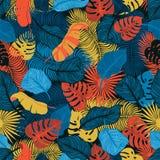 Modèle sans couture tropical avec les palmettes exotiques Monstera, paume, feuilles de banane Conception botanique de textile exo Images libres de droits