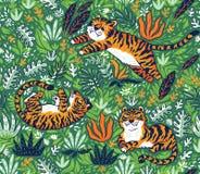 Modèle sans couture tropical avec les tigres drôles dans le style de bande dessinée Illustration de vecteur illustration de vecteur