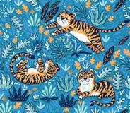 Modèle sans couture tropical avec les tigres drôles dans le style de bande dessinée Illustration de vecteur Images stock