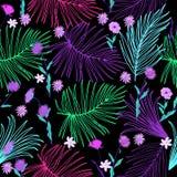 Modèle sans couture tropical de feuilles et de fleurs dans les couleurs au néon, vec illustration stock