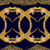 Modèle sans couture tropical exotique Animalistic avec des léopards, guépards Tissu, papier peint, fond, conception Vecteur illustration libre de droits