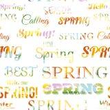 Modèle sans couture typographique moderne de ressort Images libres de droits