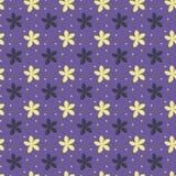 Modèle sans couture ultra-violet avec des fleurs et des points illustration de vecteur