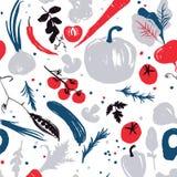 modèle sans couture végétal coloré Bleu-rouge avec un décalage de moitié-place Collecte d'automne Produits du marché de ferme illustration libre de droits