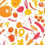 modèle sans couture végétal coloré Jaune-rouge avec un décalage de moitié-place Collecte d'automne Produits du marché de ferme illustration libre de droits