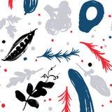 modèle sans couture végétal coloré Rouge-bleu avec un décalage de moitié-place Collecte d'automne Produits du marché de ferme Ver illustration libre de droits