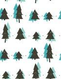Modèle sans couture vecteur d'abrégé sur d'amusement de Joyeux Noël de temps d'illustration à main levée tirée par la main de ban Image stock