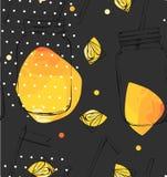 Modèle sans couture vecteur d'abrégé sur d'été de fruits frais organiques tirés par la main d'heure avec des cocktails de detox d Photographie stock libre de droits