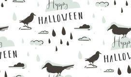 Modèle sans couture vecteur d'abrégé sur de bande dessinée d'illustrations heureuses tirées par la main de Halloween avec des cor Photo libre de droits