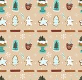 Modèle sans couture vecteur d'abrégé sur de Noël tiré par la main de bande dessinée avec l'ampoule en verre d'éléments à la maiso illustration stock