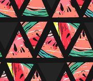 Modèle sans couture vecteur de collage tiré par la main d'abrégé sur avec des formes de hippie de motif et de triangle de pastèqu Photos stock