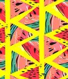 Modèle sans couture vecteur de collage tiré par la main d'abrégé sur avec des formes de hippie de motif et de triangle de pastèqu Photographie stock libre de droits