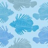 Modèle sans couture venimeux de poissons de mer Images libres de droits