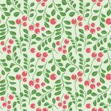 Modèle sans couture vert clair avec les baies rouges - dirigez le fond floral illustration stock