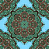 Modèle sans couture vert coloré mignon de mandala Photo stock