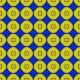 Modèle sans couture vert de chaux de vecteur et bleu géométrique avec des cercles, places illustration de vecteur