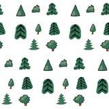 Modèle sans couture vert de différents arbres et buissons Illustration de forêt de vecteur sur le fond blanc Bande dessinée simpl illustration stock
