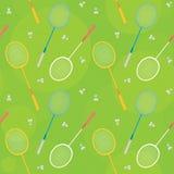 Modèle sans couture vert de vecteur de badminton Photos libres de droits