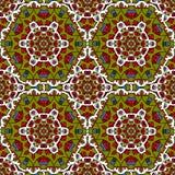 Modèle sans couture vert rouge coloré par mandala Images stock