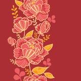 Modèle sans couture vertical d'or et de fleurs rouges Photos stock