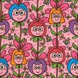 Modèle sans couture vertical de mascotte mignonne de fleur illustration de vecteur