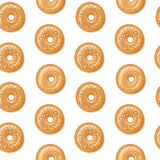 Modèle sans couture, vue supérieure des bagels frais avec les graines de sésame blanches et brunes, fond blanc Illustration de ve illustration de vecteur
