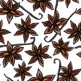 Modèle sans fin sans couture de cosse d'Anise Star Seed et de vanille Fond saisonnier de nourriture Épice et cocktail de vin chau illustration libre de droits