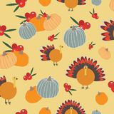 Modèle seameless de dinde de canneberges de potirons de thanksgiving illustration de vecteur