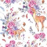 Modèle semless floral d'aquarelle avec les cerfs communs mignons Photos stock