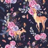 Modèle semless floral d'aquarelle avec les cerfs communs mignons Photographie stock libre de droits