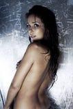 Modèle sexy avec la peau humide et modifiée Photographie stock libre de droits