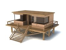 modèle simple de la maison 3d Images libres de droits