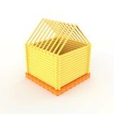 Modèle simple de petite maison construit du bois Photos libres de droits