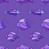 Modèle sous-marin violet sans couture d'océan de vecteur Photographie stock libre de droits