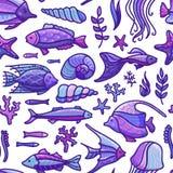 Modèle sous-marin violet sans couture de mer de vecteur Photographie stock