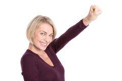 Modèle supérieur : Femme réussie et folâtre d'isolement sur le blanc. Photographie stock libre de droits