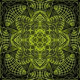 Modèle symétrique abstrait de kaléidoscope sur un fond noir image stock