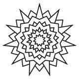 Modèle symétrique circulaire ethnique Mandala noir et blanc pour la coloration Image libre de droits