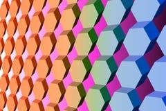 Modèle symétrique diagonal d'hexagone dans orange et bleu, imit 3D illustration libre de droits
