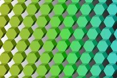 Modèle symétrique diagonal des hexagones des nuances vertes, 3D imi illustration de vecteur